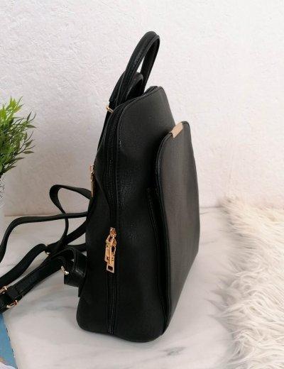 Γυναικείο μαύρο οβάλ Backpack δερματίνη 15629B