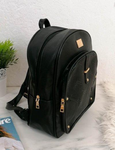 Γυναικείο μαύρο Backpack δερματίνη 66177B