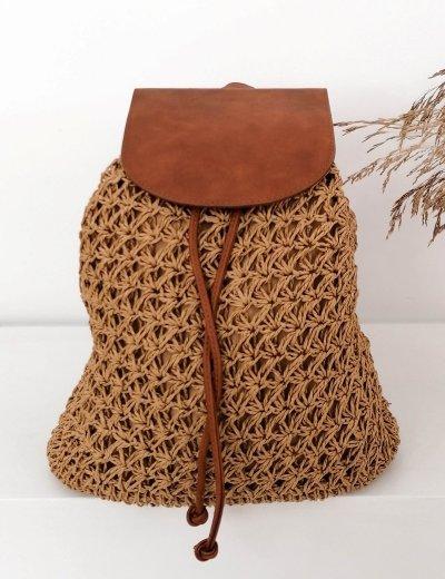 Γυναικεία κάμελ ψάθινη τσάντα πλάτης 2001660B