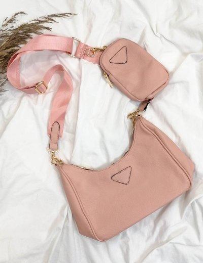 Γυναικείο ροζ τσάντακι δερματίνη 11231D