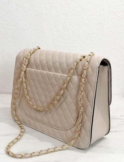 Γυναικεία μπεζ καπιτονέ τσάντα ώμου με αλυσίδα χρυσή 060261C