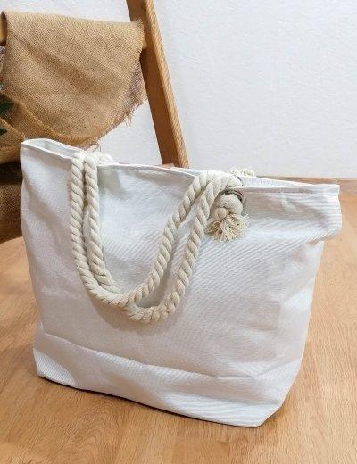Γυναικεία λευκή τσάντα θαλάσσης με τύπωμα 213018C