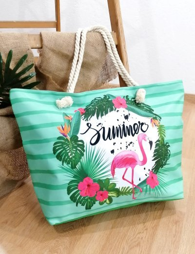 Γυναικεία πράσινη τσάντα θαλάσσης με τύπωμα 213018E