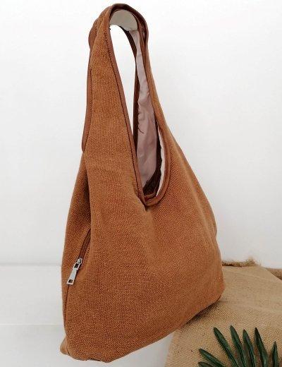 Γυναικεία κάμελ πικέ τσάντα ώμου 105660A