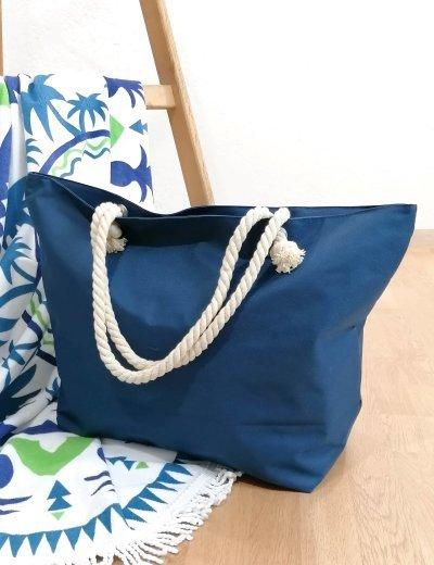 Γυναικεία μπλε σκούρο τσάντα θαλάσσης με τύπωμα 213018D