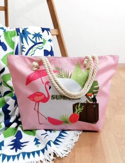 Γυναικεία ροζ τσάντα θαλάσσης με τύπωμα 213018F