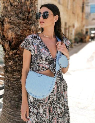 Γυναικεία γαλάζια διπλή καπιτονέ τσάντα χιαστί 989282A