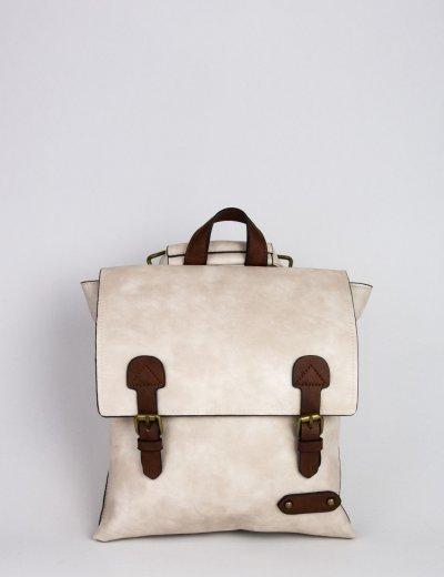 Γυναικεία μπεζ τετράγωνη τσάντα πλάτης δερματίνη 9340112D