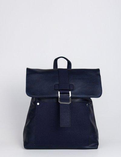 Γυναικείο μπλε σακίδιο πλάτης με κούμπωμα και φερμουάρ A885E