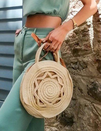 Γυναικεία μπεζ τσάντα χειρός στρογγυλή ψάθινη 200960A