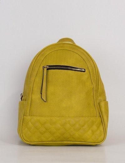 Γυναικείο ώχρα Backpack μονόχρωμο δερματίνη 8550