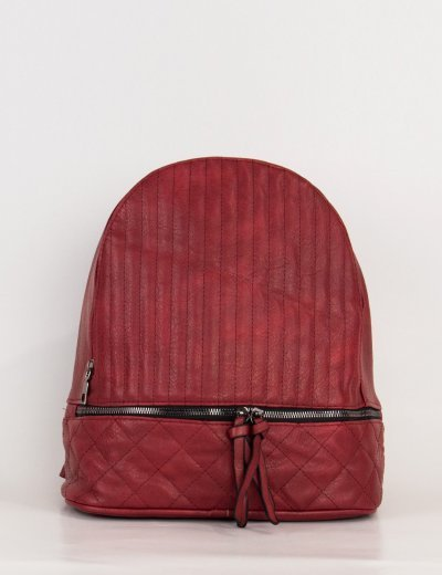 Γυναικείο μπορντό σακίδιο πλάτης δερματίνη 00880Z
