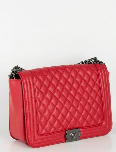 Γυναικεία κόκκινη τετράγωνη τσάντα ώμου καπιτονέ 60369K