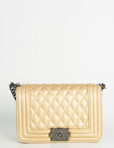 Γυναικεία χρυσή καπιτονέ τσάντα ανθρακί αλυσίδα M7836N