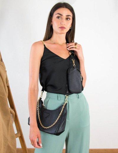 Γυναικείο μαύρο τσάντακι δερματίνη 11231A