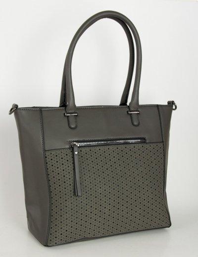 Γυναικεία γκρι κλασσική τσάντα ώμου διάτρητο σχέδιο 5258L