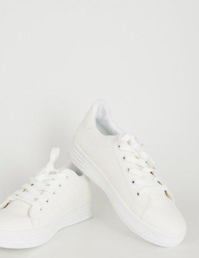 Γυναικεία λευκά Sneakers μονόχρωμα με κορδόνια 723720