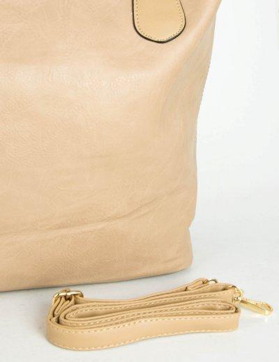 Γυναικεία σομόν τσάντα ώμου μονόχρωμη δερματίνη 9988Q