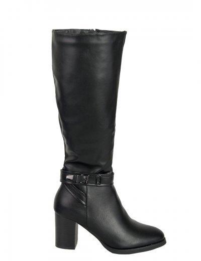 Γυναικείες μαύρες μπότες τόκα χοντρό τακούνι FR230G