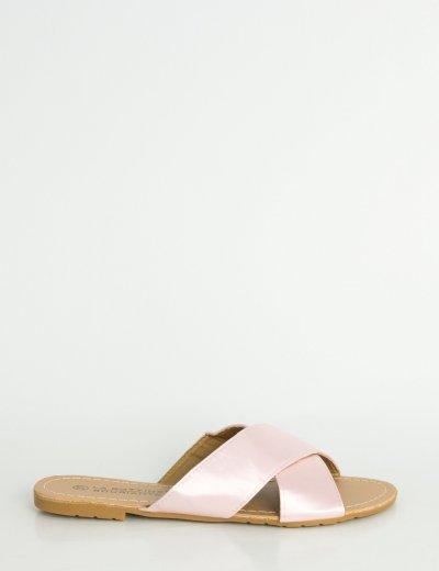 Γυναικεία ροζ φλατ σανδάλια σατέν χιαστί LBS6200