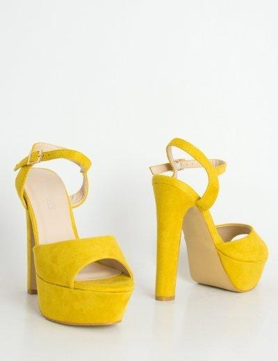 Γυναικεία ώχρα ψηλοτάκουνα πέδιλα μονόχρωμα Peep toe NA01C