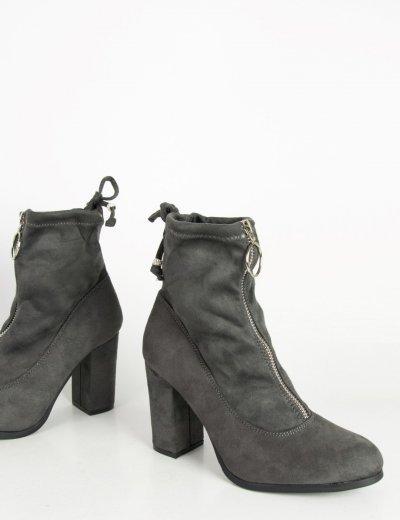 Γυναικεία γκρι σουέντ μποτάκια κάλτσα κρίκος φερμουάρ C7179L