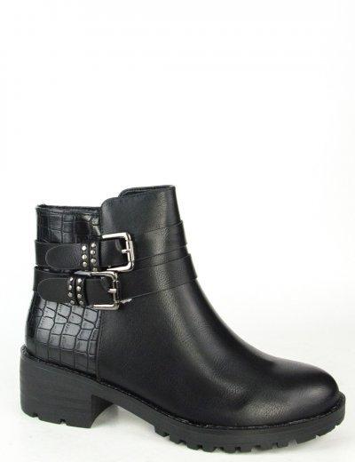Γυναικεία μαύρα μποτάκια με τόκα και σχέδιο JH377L