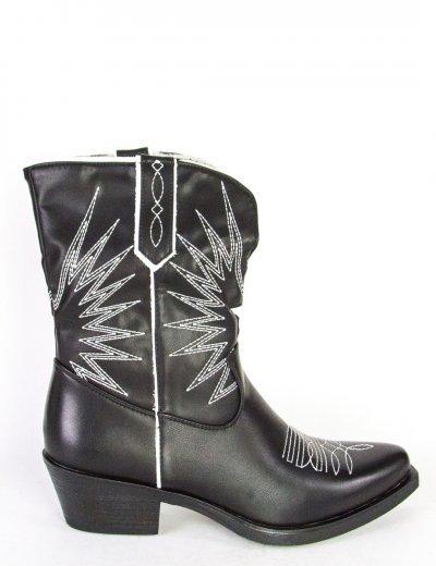 Γυναικεία μαύρο λευκό Cowboy μποτάκια δερματίνη 9000307