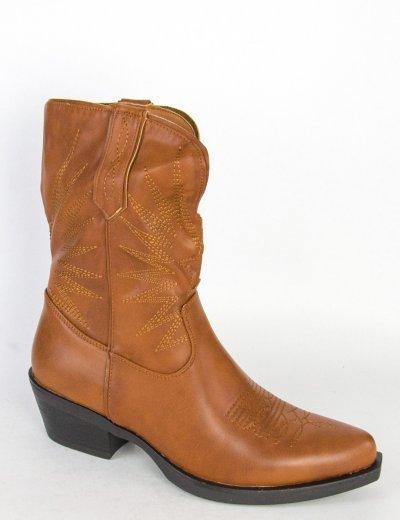 Γυναικεία κάμελ Cowboy μποτάκια δερματίνη 9000307W