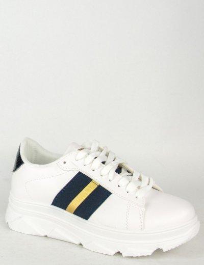 Γυναικεία λευκό μπλε Sneakers με κορδόνια και ρίγα 85417R