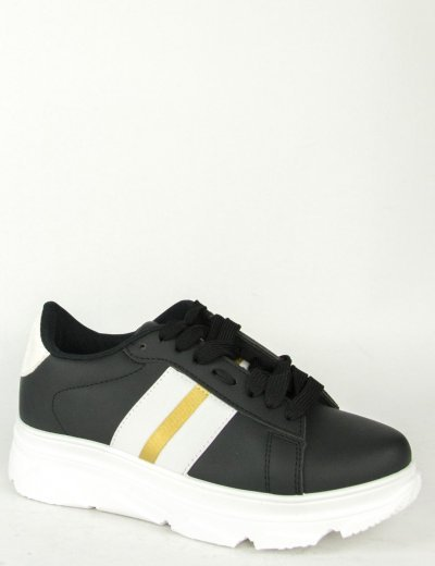 Γυναικεία μαύρα λευκό Sneakers με κορδόνια και ρίγα 85417