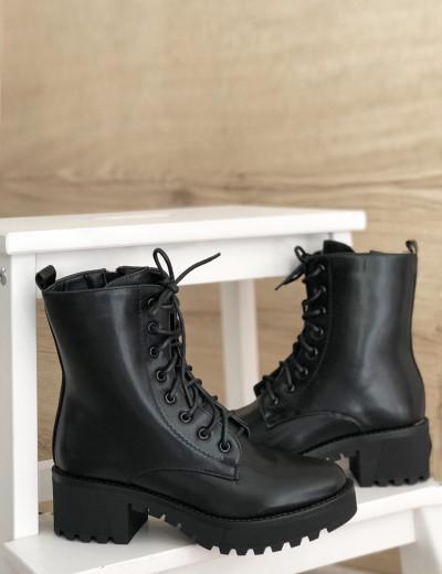 Γυναικεία μαύρα μονόχρωμα αρβυλάκια με κορδόνια GL098Z