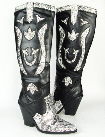 Γυναικεία μαύρη Snake Print Cowboy μπότα B9032