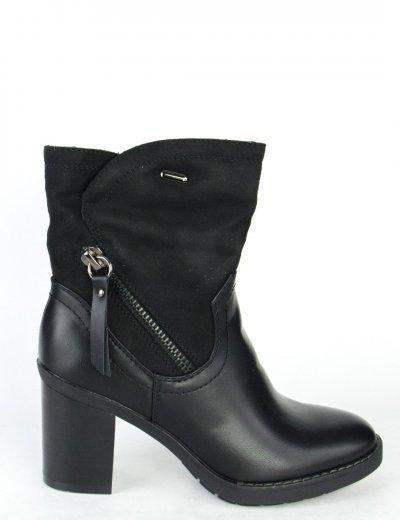 Γυναικεία μαύρα μποτάκια αστραγάλου φερμουάρ γούνινη επένδυση SA6050T