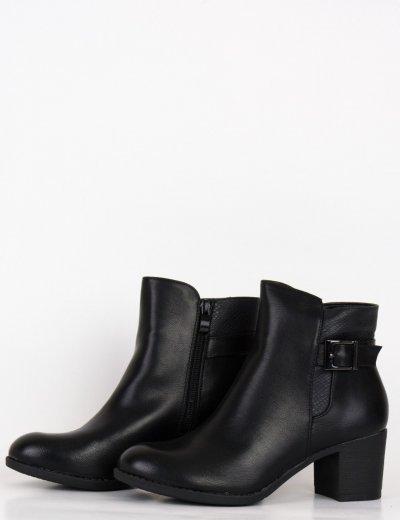 Γυναικεία μαύρα μποτάκια αστραγάλου με χοντρό τακούνι 95016