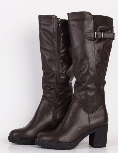 Γυναικείες καφέ μπότες δερματίνη με χοντρό τακούνι HXH063L