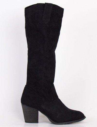 Γυναικείες μαύρες σουέντ μπότες Cowboy SA3340