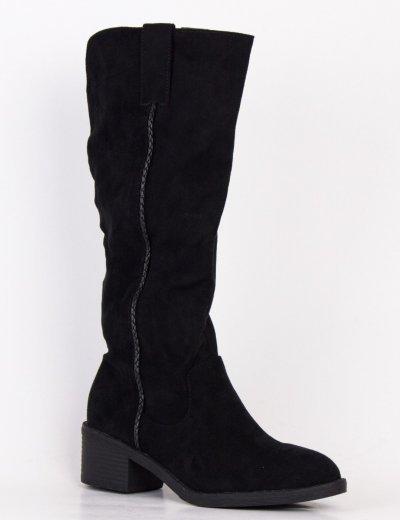 Γυναικείες μαύρες σουέντ χαμηλές μπότες με φερμουάρ W813