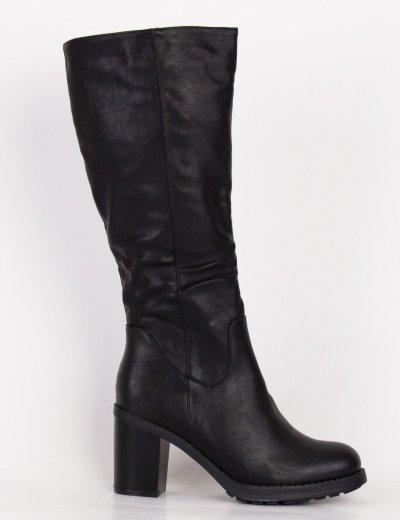 Γυναικείες μαύρες μπότες δερματίνη με χοντρό τακούνι ZX2810