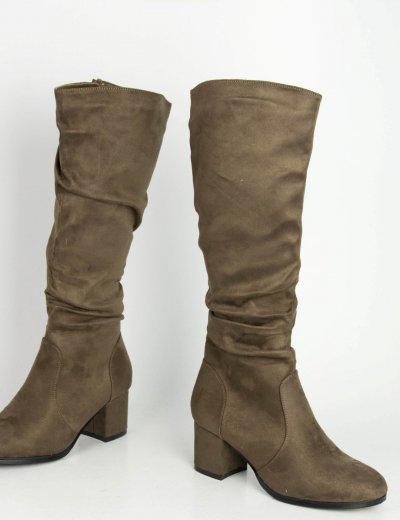 Γυναικείες καφέ σουέντ μπότες χοντρό τακούνι HXH055