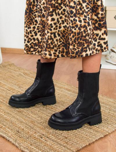 Γυναικεία μαύρα αρβυλάκια δερματίνη με φερμουάρ GL115