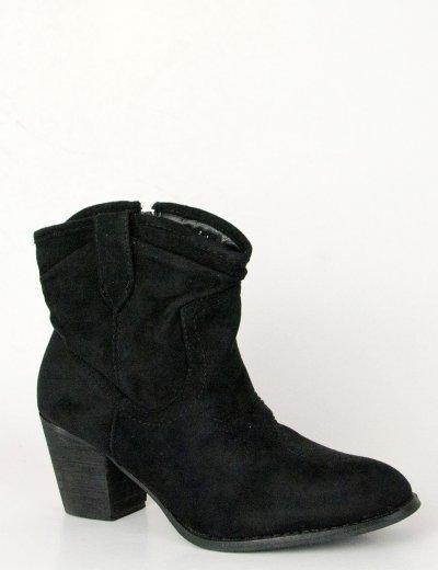 Γυναικεία μαύρα σουέντ μποτάκια αστραγάλου Cowboy SA3339L