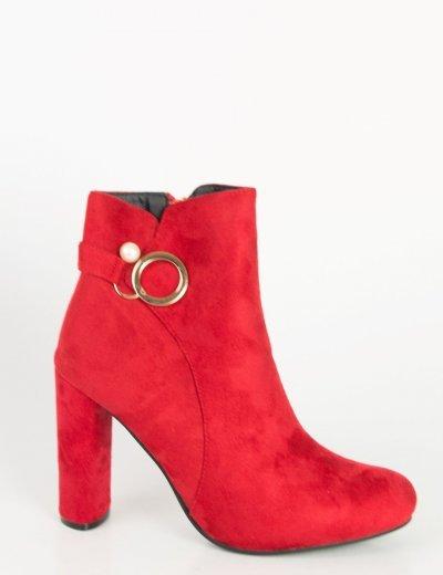 Γυναικεία κόκκινα σουέντ μποτάκια αστραγάλου κρίκος B8818G