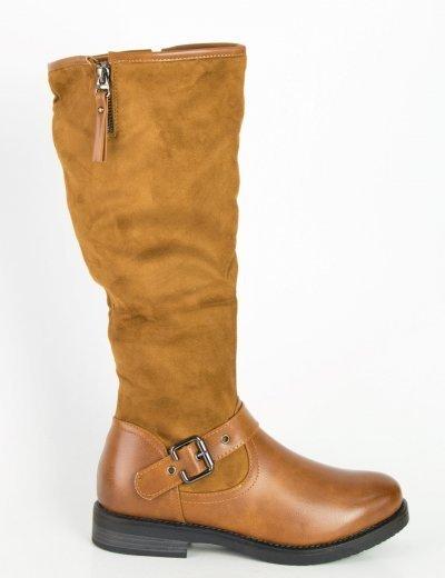 Γυναικείες κάμελ μπότες ιππασίας δερματίνη σουέντ 900110F