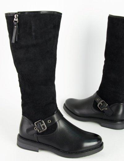 Γυναικείες μαύρες μπότες ιππασίας δερματίνη σουέντ 900110