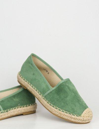 Γυναικείες πράσινες εσπαντρίγιες ψάθινος πάτος LX196P