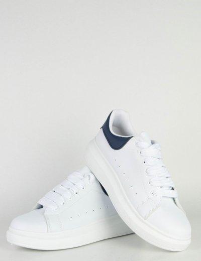 Ανδρικά λευκά μπλε δίσολα Sneakers λαστιχένια σόλα M723V