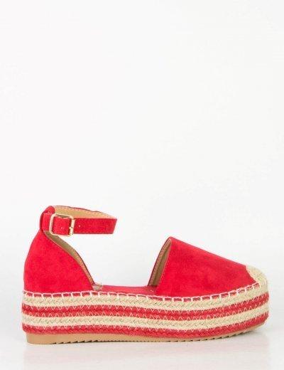 Γυναικείες κόκκινες εσπαντρίγιες με πλατφόρμα λουράκι JS551W