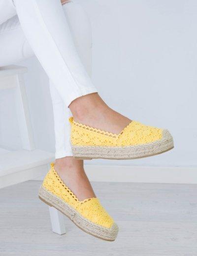 Γυναικείες κίτρινες εσπαντρίγιες πλεκτές ψάθινη σόλα CD5W