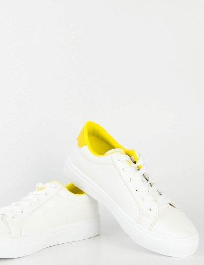 Γυναικεία λευκά κίτρινο Sneakers δερματίνη χαμηλά BO55T